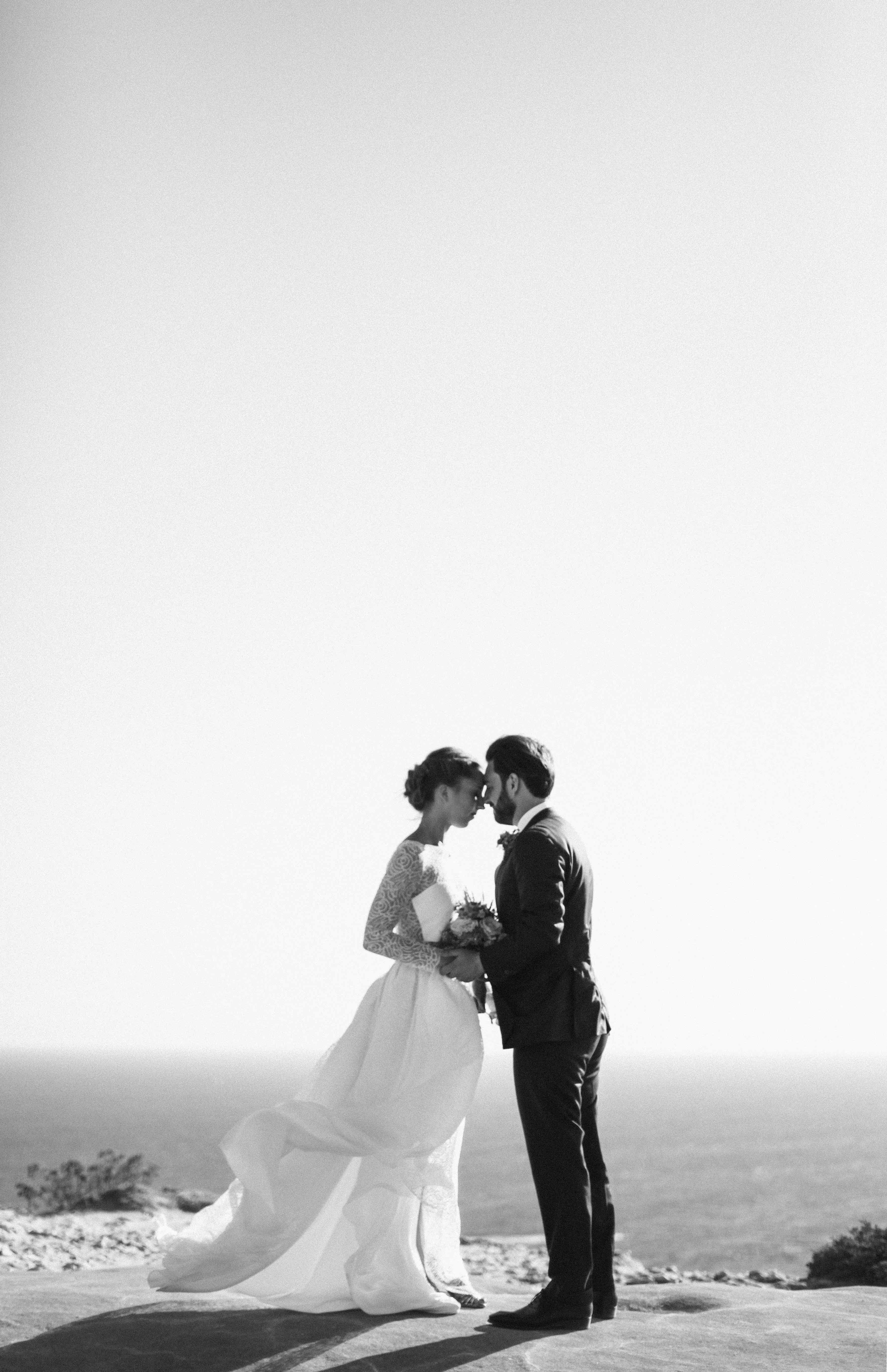 bride and groom on the Corsica's beach