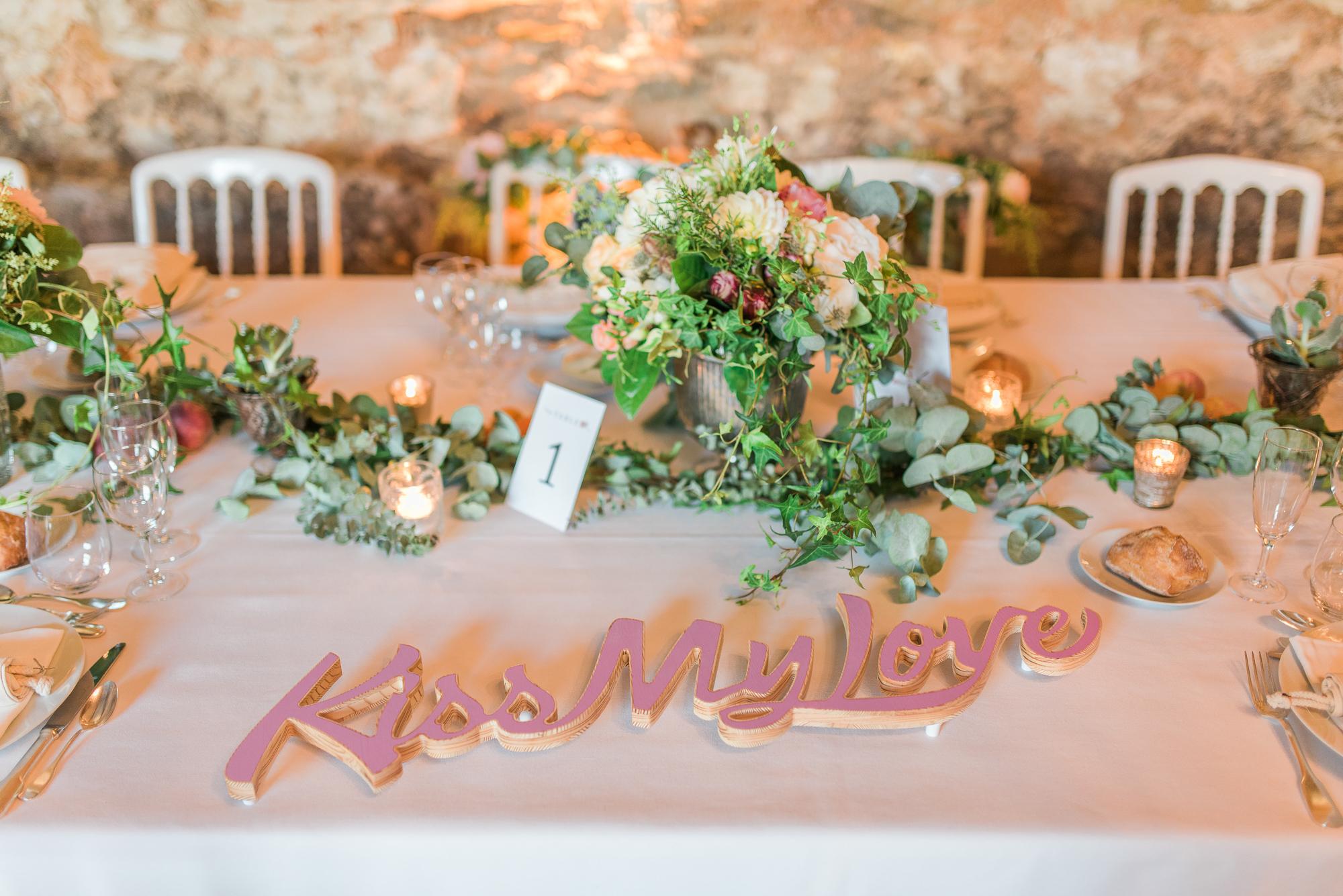 Kiss my love détail table